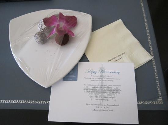 The US Grant, a Luxury Collection Hotel, San Diego: complimentary truffles sent to our room for anniversary