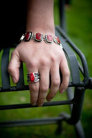 DeLong Studio: Red Coral Ring and Bracelet