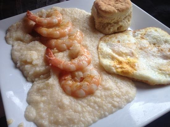 Ketchup Restaurant : Shrimp and grits with a side of hockey puck biscuit