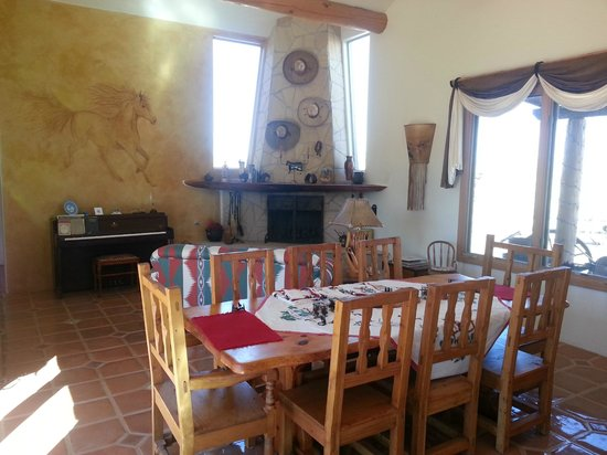 La Hacienda de Sonoita: Great room with one of two fireplaces