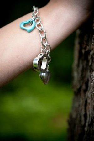 DeLong Studio: Sterling silver heart charm bracelet
