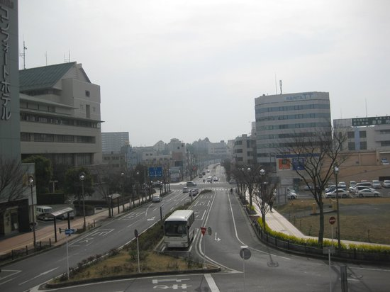 Comfort Hotel Narita: View from the overpass from Keisei-Narita station and the hotel