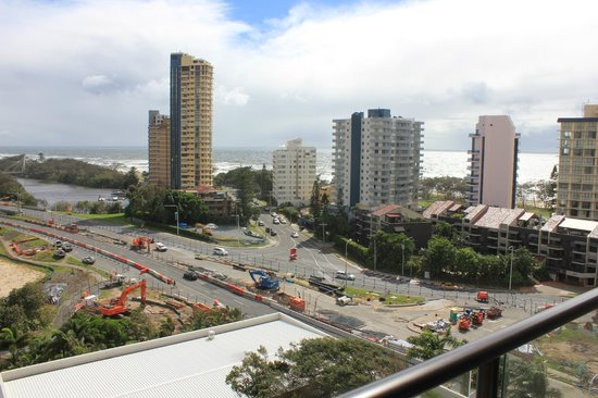 Surfers Paradise Marriott Resort & Spa: Our UPGRADED room looked over roadworks and not much ocean at all