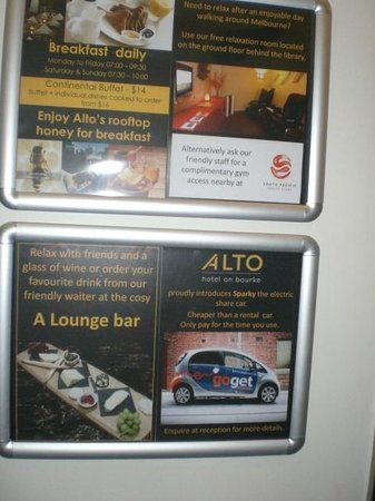 ‪‪Alto Hotel on Bourke‬: Hotel Info Board‬