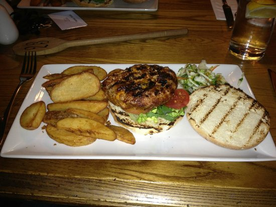 The Snow Goose : Wild Boar and Chorizo Burger - with REAL chips