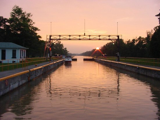 Erie Canal: First lock encountered when traveling east of Fairport, NY. Photo looking back toward Fairport.