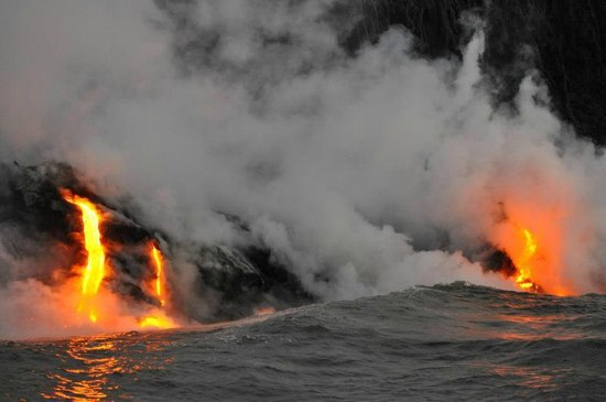 Lava Ocean Tours Inc: Lava entering the ocean