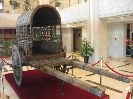 Yidu, China: Ancient cart in Lobby