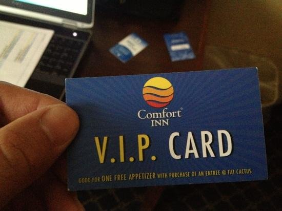 Comfort Inn Randolph: ask for you VIP card for free appetizers at restaurant