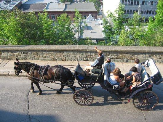 Hotel Manoir des Remparts: Les calèches sur la rue des Remparts de la terrasse!