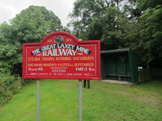 The Great Laxey Mine Railway: Sign at the Mines Yard end of the line