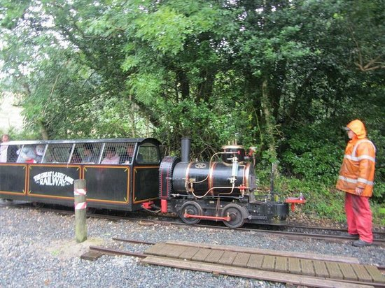 The Great Laxey Mine Railway: Passengers getting on board at Mines Yard end of the line