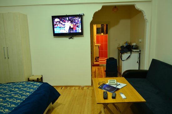 """Nice Apart Hotel: Arched entrance to the room, 32"""" TV."""