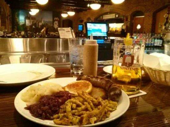 Bavarian Brathaus of Durham: veal schnitzel w/ brat on the side