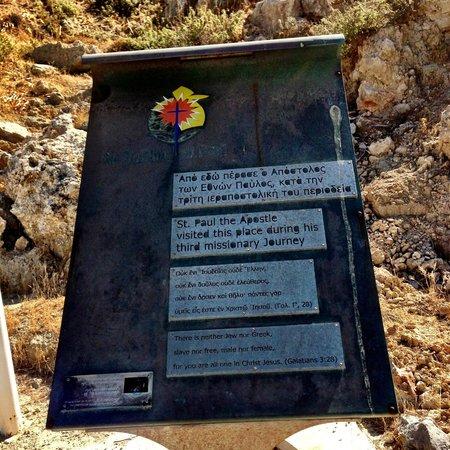 Agios Pavlos Beach (Saint Paul) : Tablet with International explaination