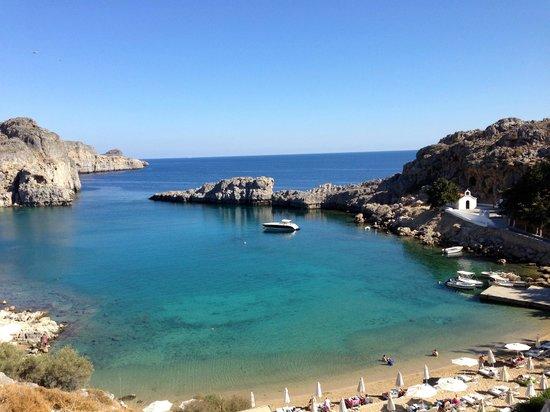 Agios Pavlos Beach (Saint Paul): View from St Paul's Bau to the Sea