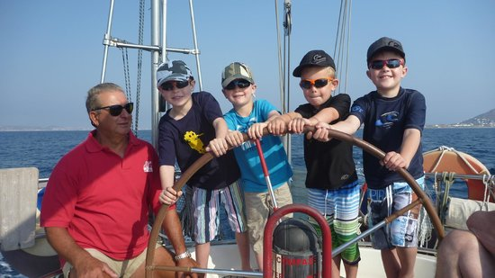 Naxos by, Hellas: STEERING  LESSONS FROM CAPTAIN TO THE KIDS