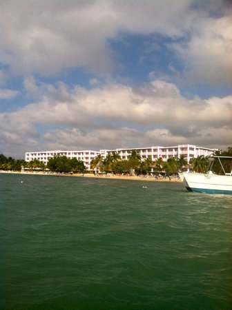 Hotel Riu Montego Bay: View of our resort from peddle boat.