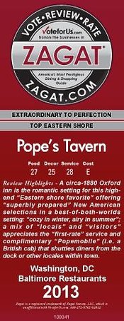 Pope's Tavern at the Oxford Inn : 2013 Zagat Rating