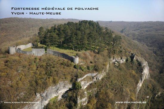 Forteresse Médiévale de Poilvache : Vue aérienne du site de Poilvache - © Guy Focant - Service Public de Wallonie