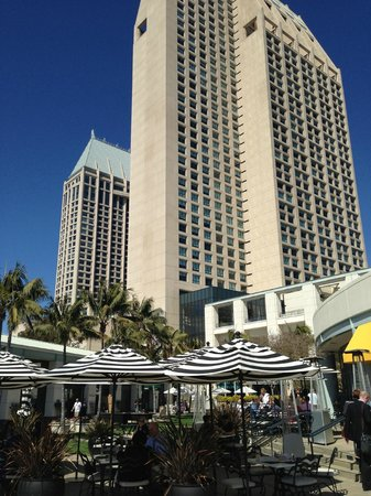 Manchester Grand Hyatt San Diego: Hotel view from Sally's Restaurant/waterfront