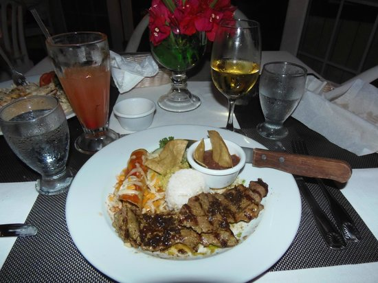 Tampico grilled pork tenderloin platter at Rico's, Ambergris Caye