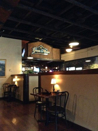 Interior shot of Guest House Grill taken from the back booth.