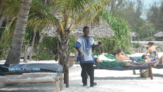 Pongwe Beach Hotel: Waiter on the beach