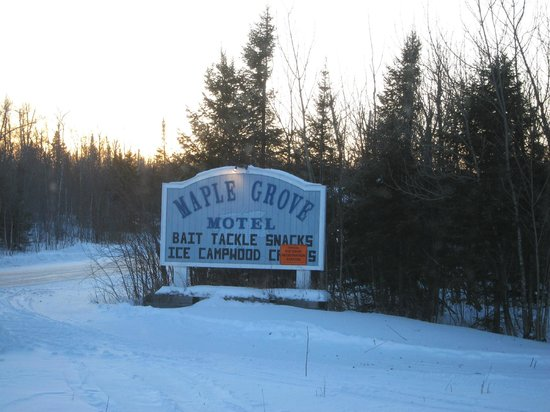 Maple Grove Motel: Motel sign on MN 1, the driveway is into the trees on the left
