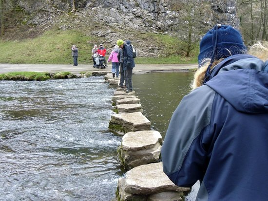 Dovedale: June about to step across the stepping stones.