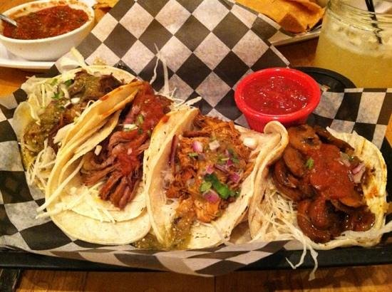 Blue Cactus Mexican Grille : tacos- chicken, pork, beef and mushroom