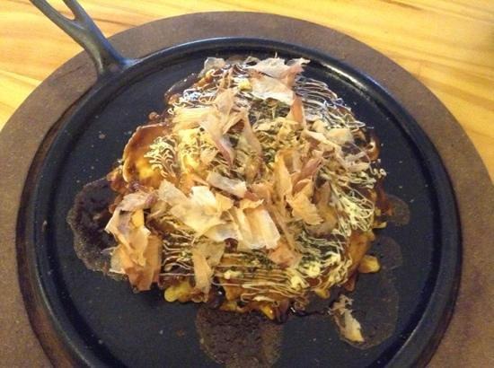 Doya Doya: shrimp okonomiyaki with items you add yourself--mayo, dried seaweed, and bonita flakes; deliciou