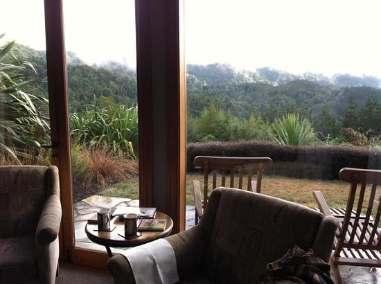 Treetops Lodge & Estate: view from private living area, misty morning.