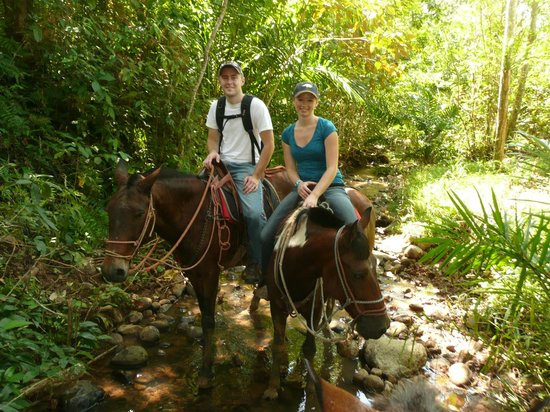 The Riding Adventure - Rancho Savegre: Riding through a creek