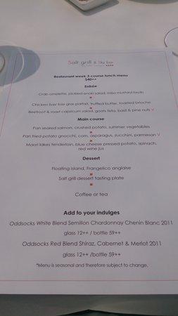 Restaurant week menu picture of salt grill sky bar for 010 cuisine weekmenu