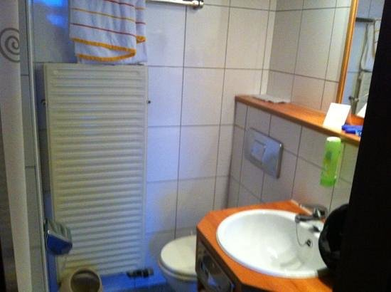 Hotel Blankenburg: Bad mit Duschvorhang und Retro Toilette