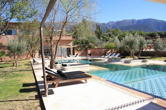 Domaine Malika: vue piscine, montagnes