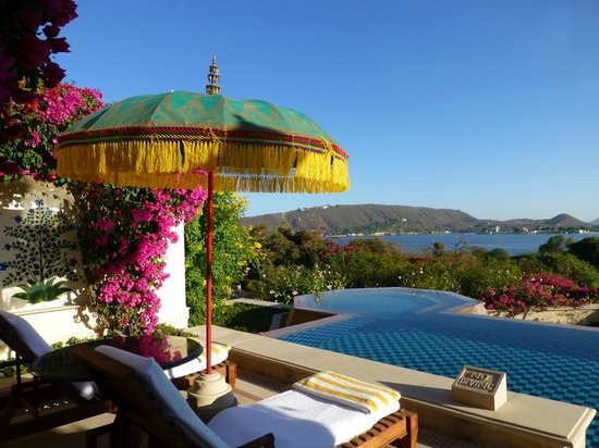 The Oberoi Udaivilas: The room's semi-private pool overlooking the lake Pichola
