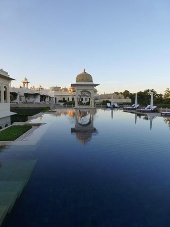 The Oberoi Udaivilas: One of the two main pools, temperature controlled.