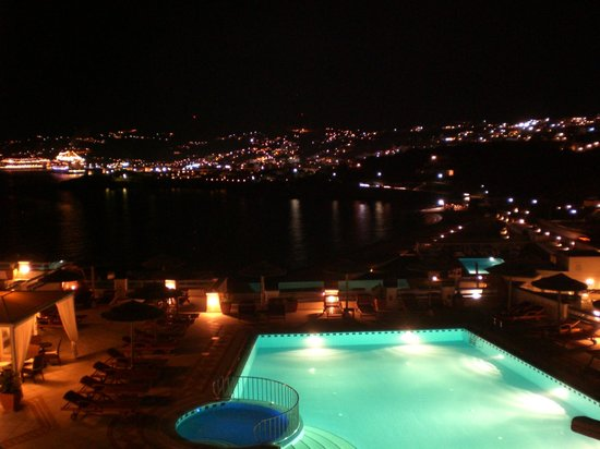 Grand Beach: View from our balcony to Mykonos