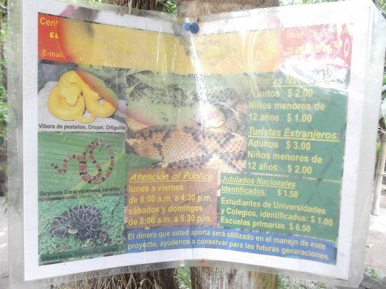 El Serpentario: Tarifs et heures d'ouverture - 17 mars 2013;