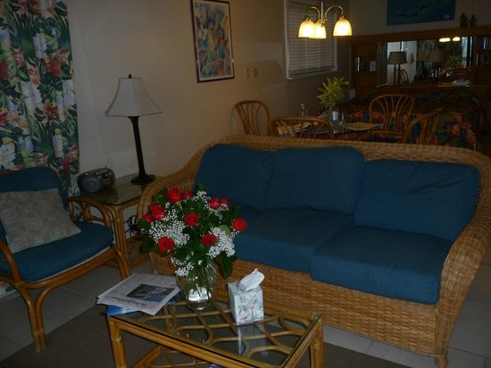Sapphire Beach Resort: Inside the room (note the flowers are from my husband not the resort - we were Valentine's Day)