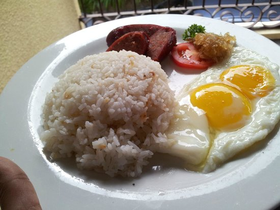 Hotel Dominique: Filipino Breakfast- Fried Rice, Longganisa and Eggs with Coffee