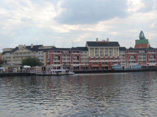 Disney's BoardWalk Villas: View of Boardwalk Villas and boat dock from Gazebo