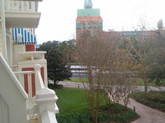 Disney's BoardWalk Villas: View from Studio balcony looking towards Swan Hotel and waterway