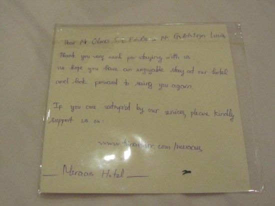 Hanoi Meracus Hotel 1: Carta despedida