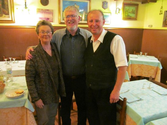 Kathy, Vic, and waiter Nick at Taverna Pretoriana