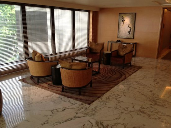 Grand Hyatt Singapore: View of lobby area situated outside the lifts on each floor.