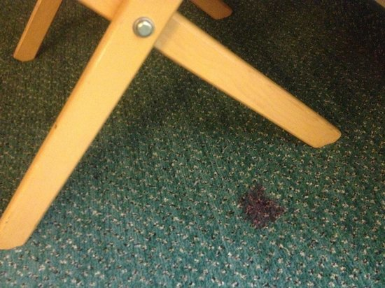La Quinta Inn Tucson East: red carpet stain...blood?  Entire carpet of filthly