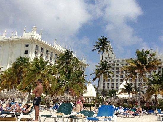 Hotel Riu Palace Aruba: Riu - view from beach, Bldg C on left